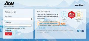 AON Hewitt Employee Benefits Login forgot username step 1