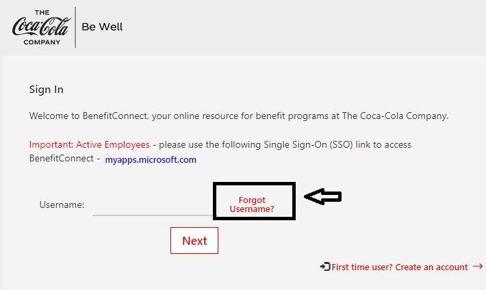 Coca-Cola Employee Benefits Login forgot username